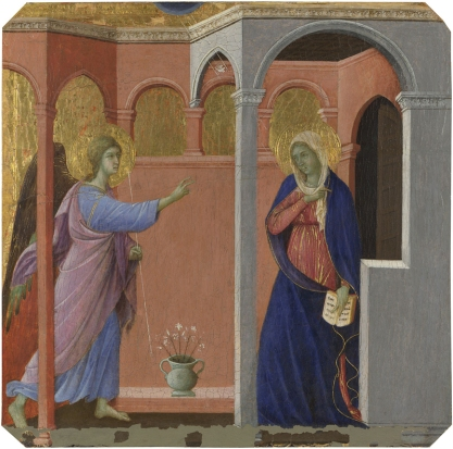 Duccio - Annunciation from Maesta Predella.jpg