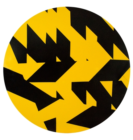 002 - Ian Boutell – Composition 1, Hazard tape on board, 20cm x 20cm