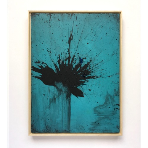 004 - Mike Edwards - Black Firework Painting 210919 (40x30cm) acryic pins and destroyed balloon on board.jpg